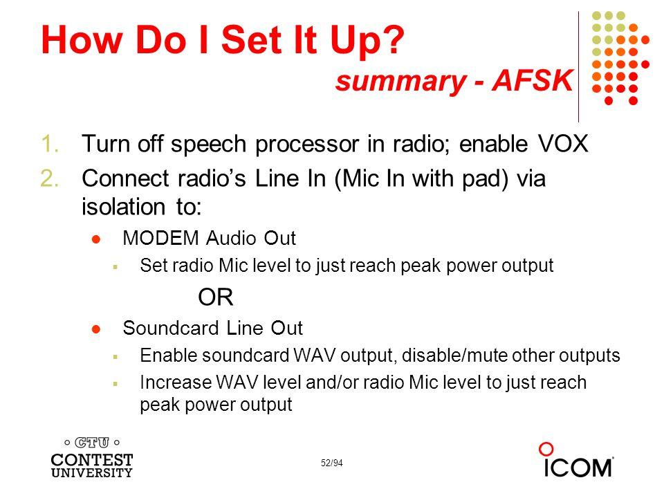 How Do I Set It Up summary - AFSK