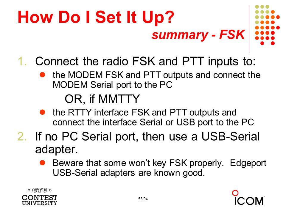 How Do I Set It Up summary - FSK