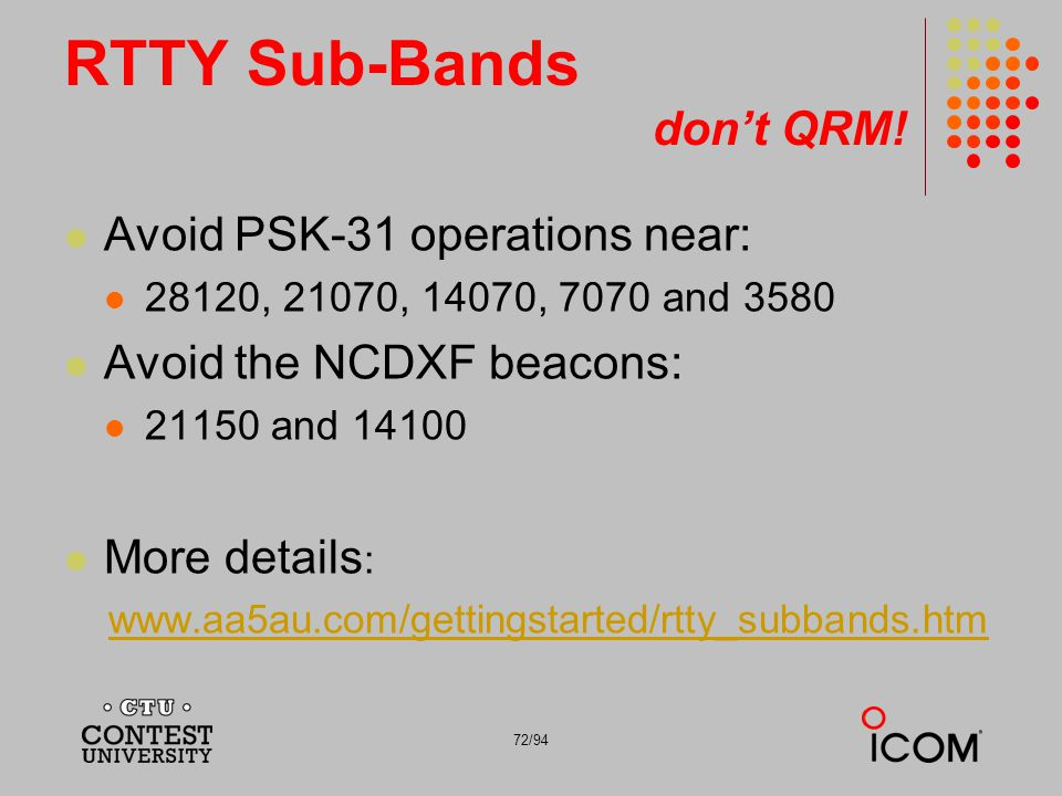 RTTY Sub-Bands don't QRM!