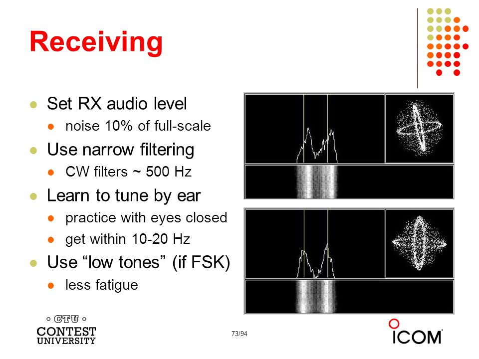 Receiving Set RX audio level Use narrow filtering Learn to tune by ear