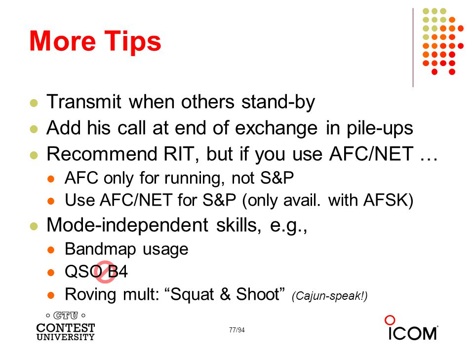 More Tips Transmit when others stand-by
