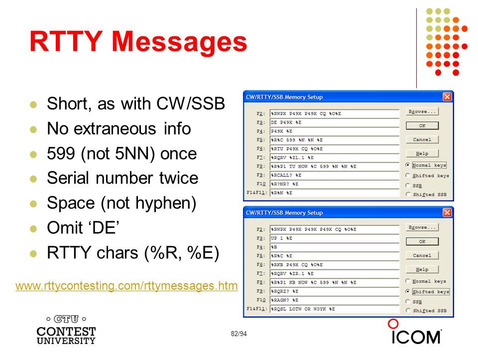 RTTY Messages Short, as with CW/SSB No extraneous info