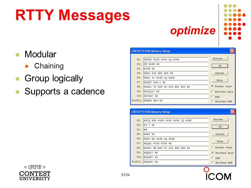 RTTY Messages optimize
