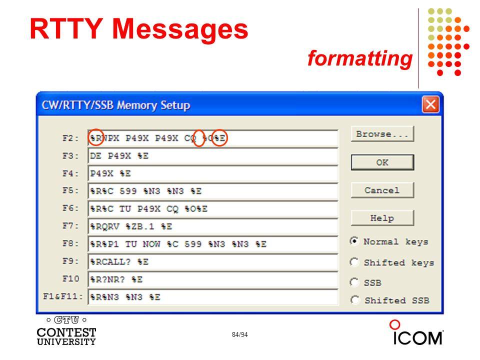 RTTY Messages formatting