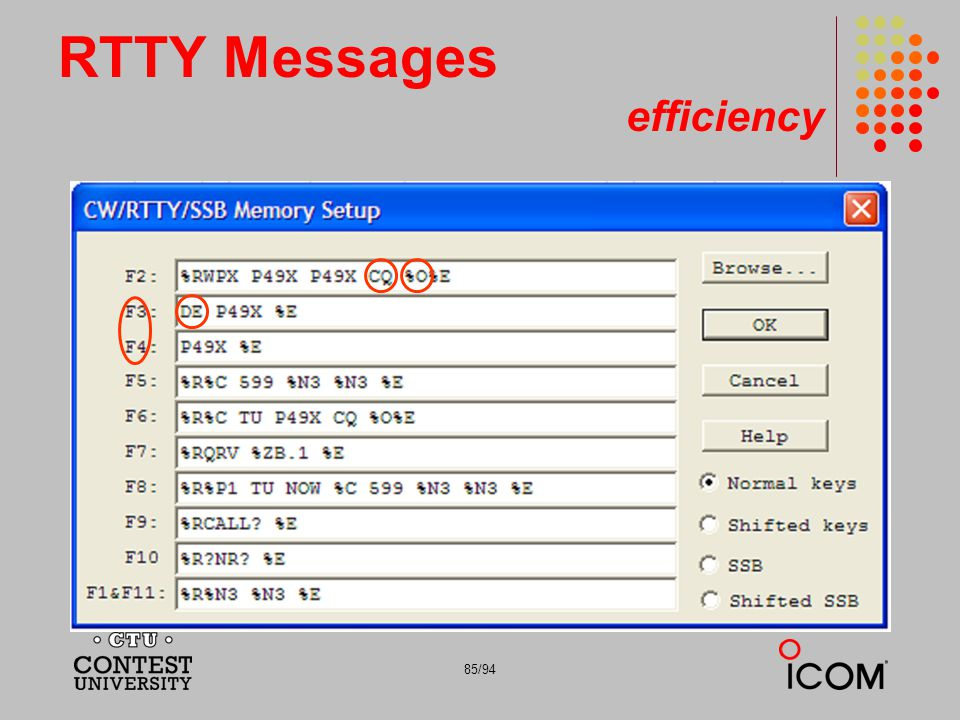 RTTY Messages efficiency