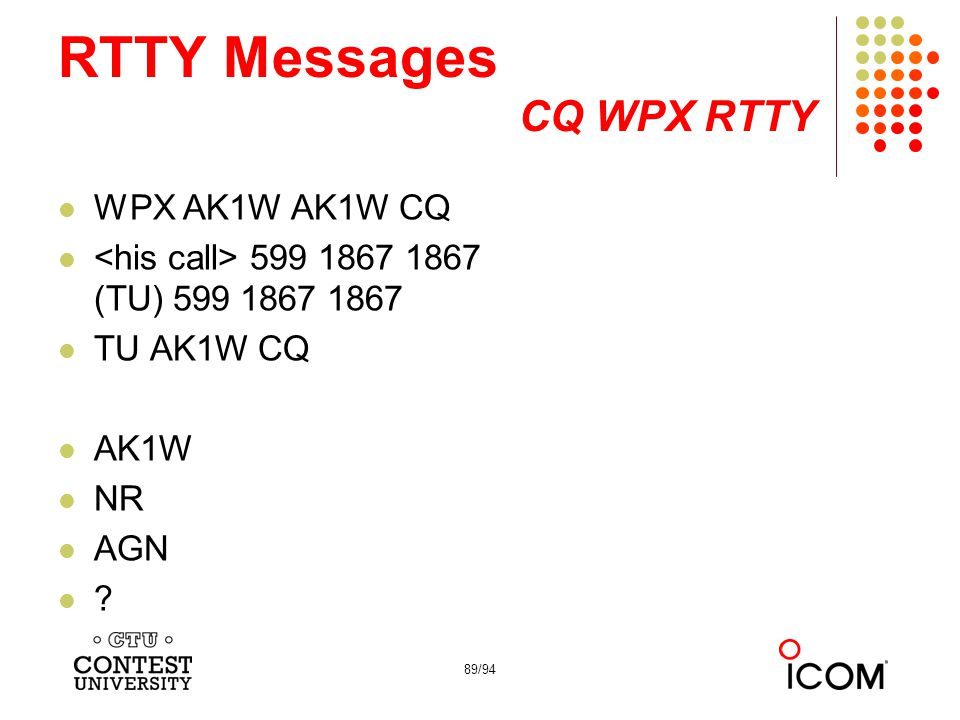 RTTY Messages CQ WPX RTTY