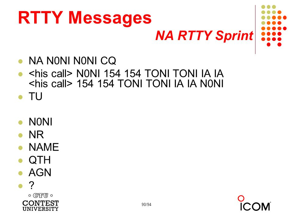 RTTY Messages NA RTTY Sprint