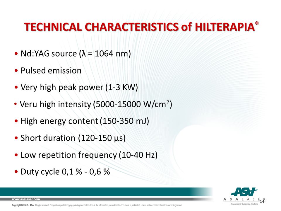 TECHNICAL CHARACTERISTICS of HILTERAPIA®