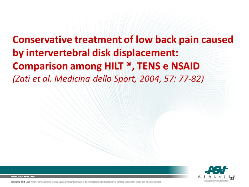 Conservative treatment of low back pain caused by intervertebral disk displacement: Comparison among HILT ®, TENS e NSAID