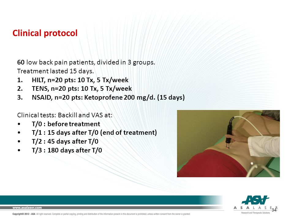Clinical protocol 60 low back pain patients, divided in 3 groups.