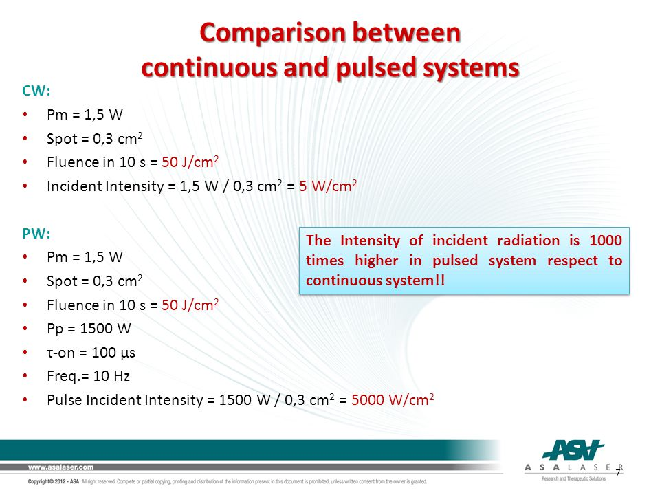 continuous and pulsed systems
