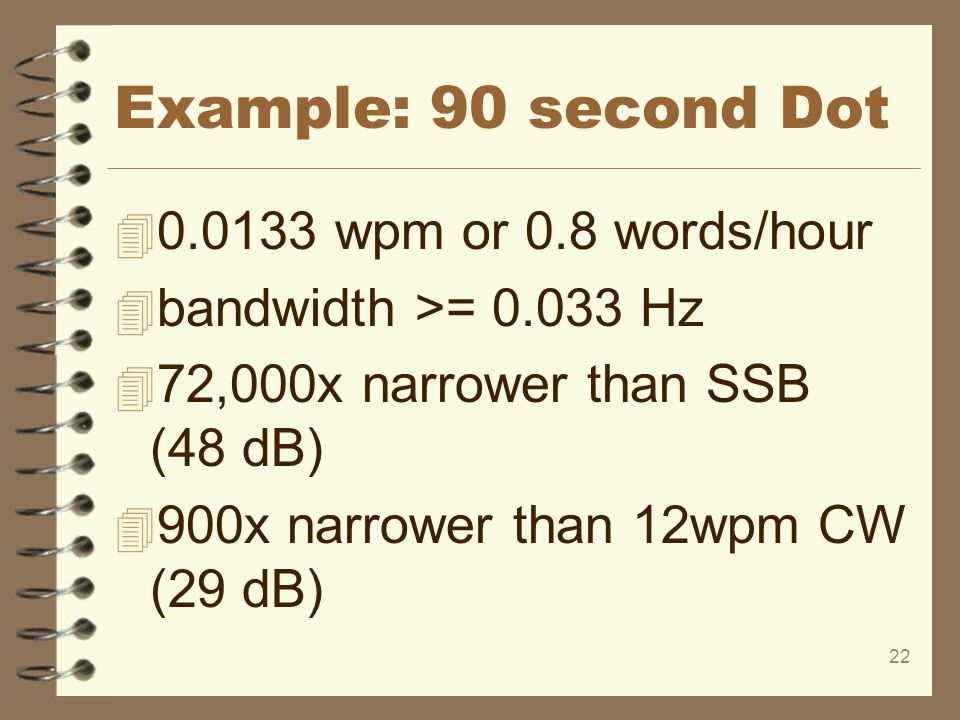 Example: 90 second Dot 0.0133 wpm or 0.8 words/hour