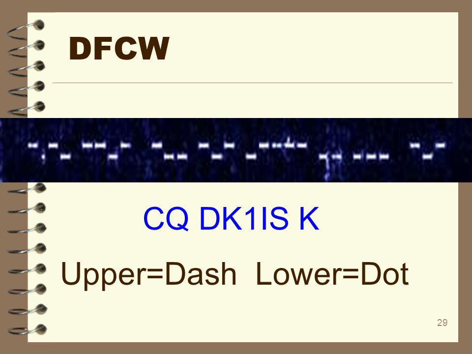 DFCW CQ DK1IS K Upper=Dash Lower=Dot