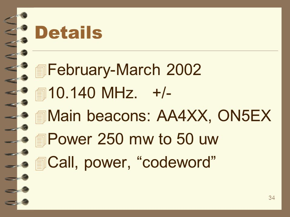 Details February-March 2002 10.140 MHz. +/- Main beacons: AA4XX, ON5EX