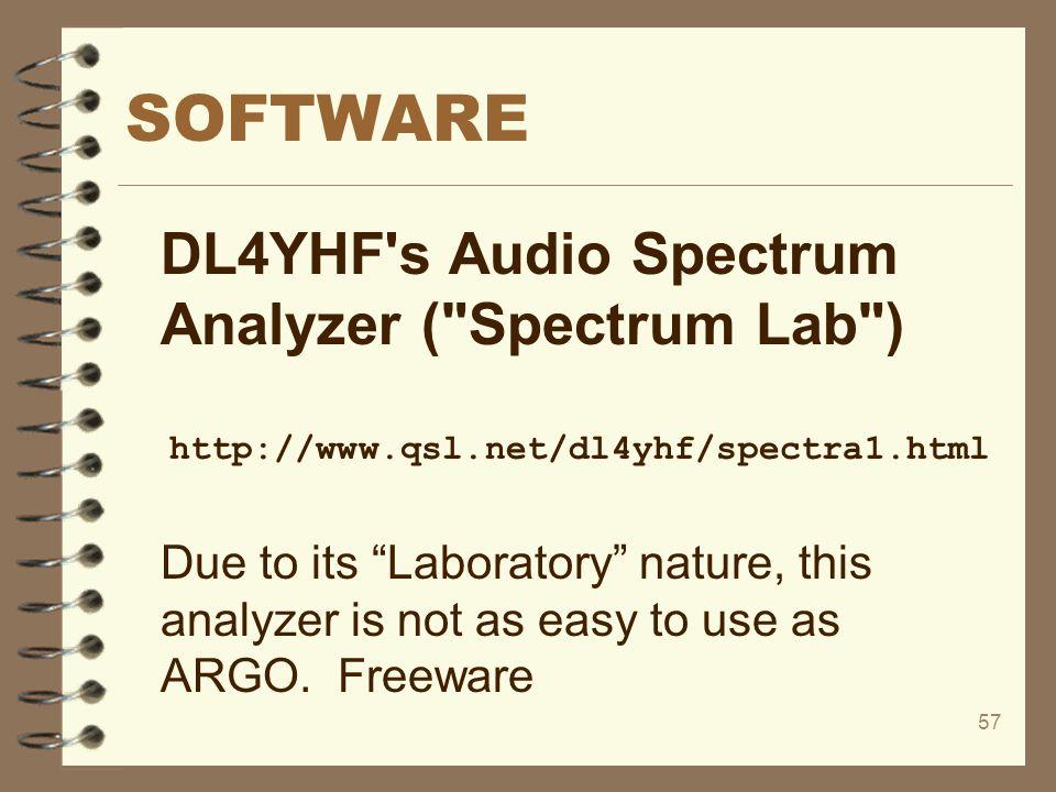 SOFTWARE DL4YHF s Audio Spectrum Analyzer ( Spectrum Lab )