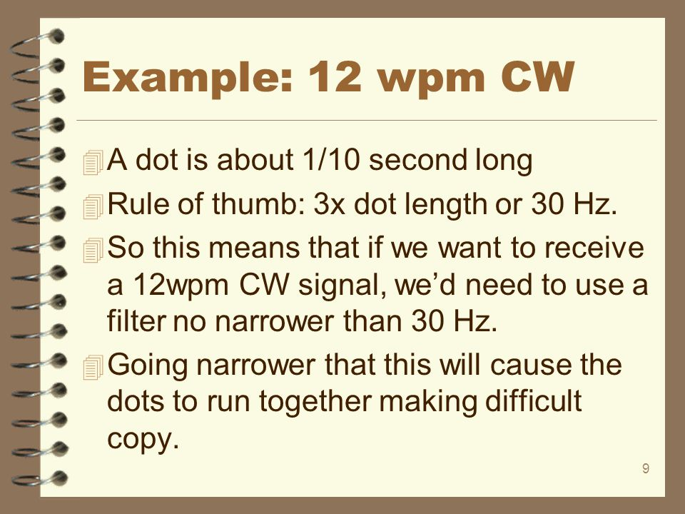 Example: 12 wpm CW A dot is about 1/10 second long