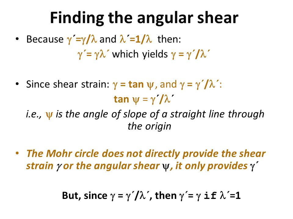 Finding the angular shear