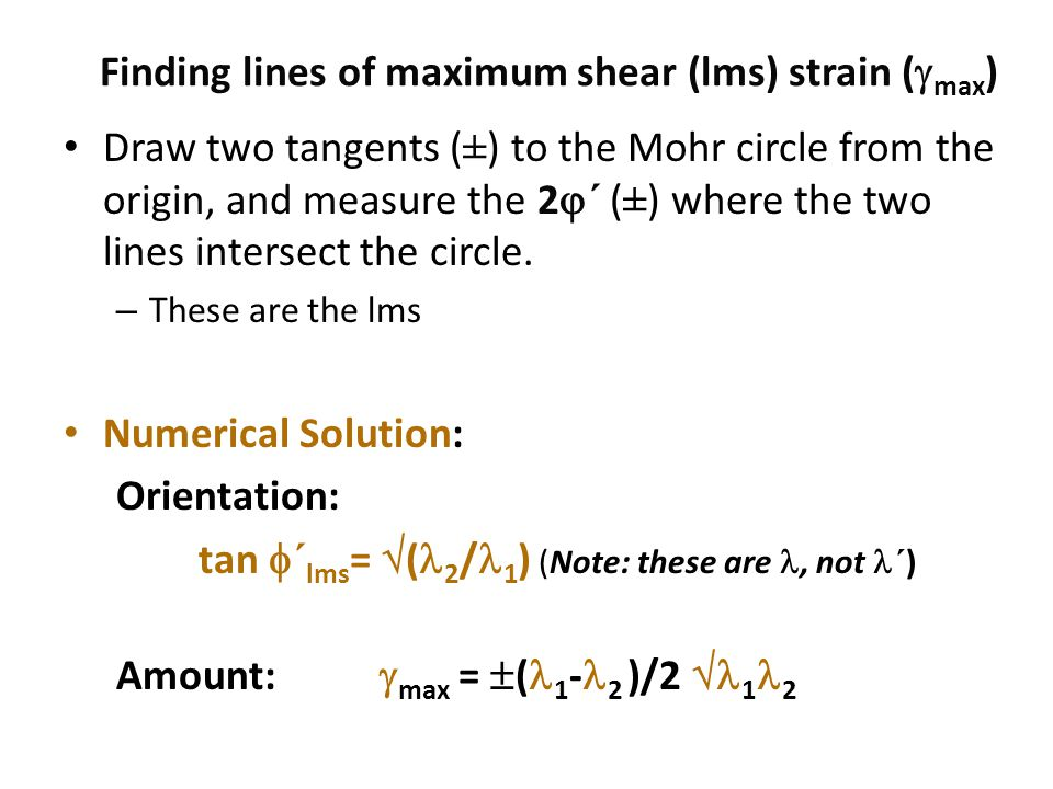 Finding lines of maximum shear (lms) strain (max)