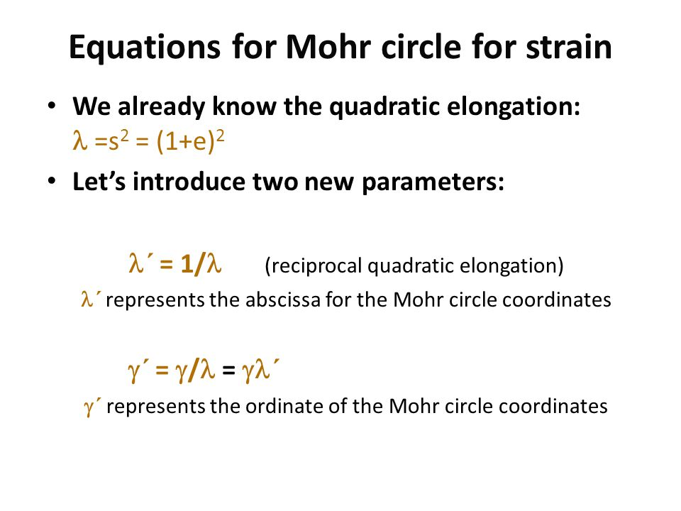 Equations for Mohr circle for strain