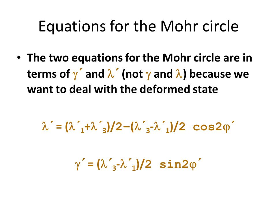 Equations for the Mohr circle
