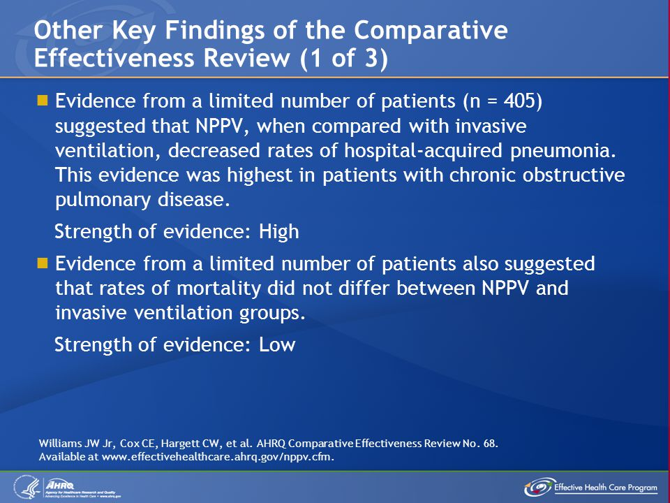 Other Key Findings of the Comparative Effectiveness Review (1 of 3)