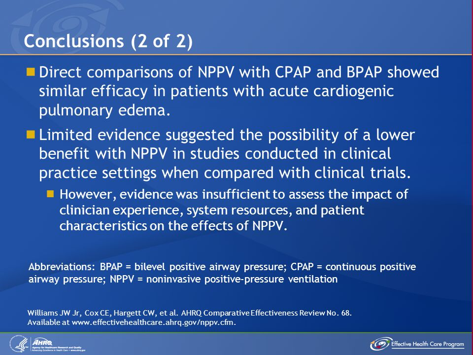 Conclusions (2 of 2) Direct comparisons of NPPV with CPAP and BPAP showed similar efficacy in patients with acute cardiogenic pulmonary edema.