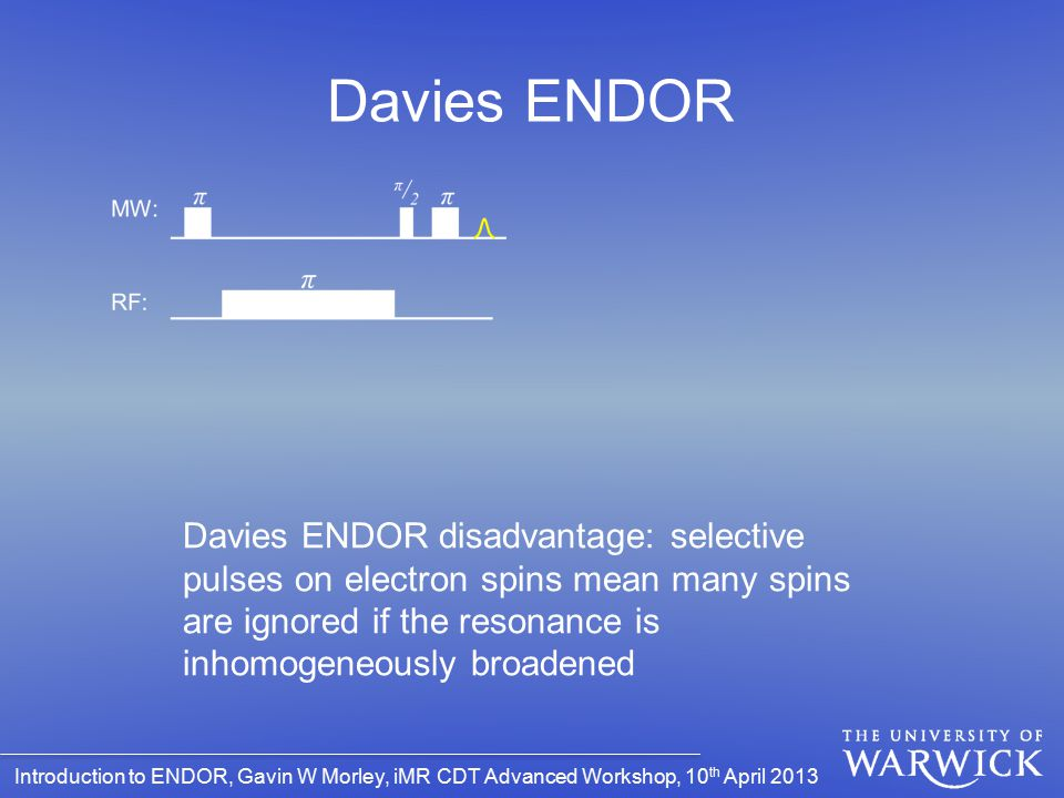 Davies ENDOR Davies ENDOR disadvantage: selective pulses on electron spins mean many spins are ignored if the resonance is inhomogeneously broadened.