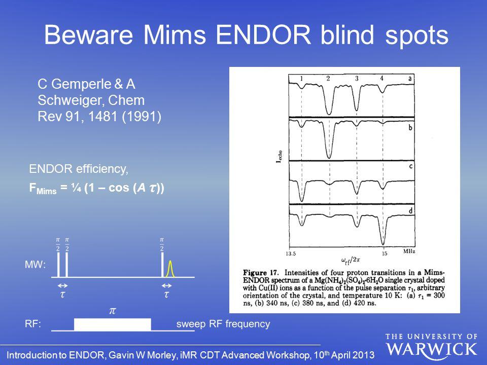 Beware Mims ENDOR blind spots