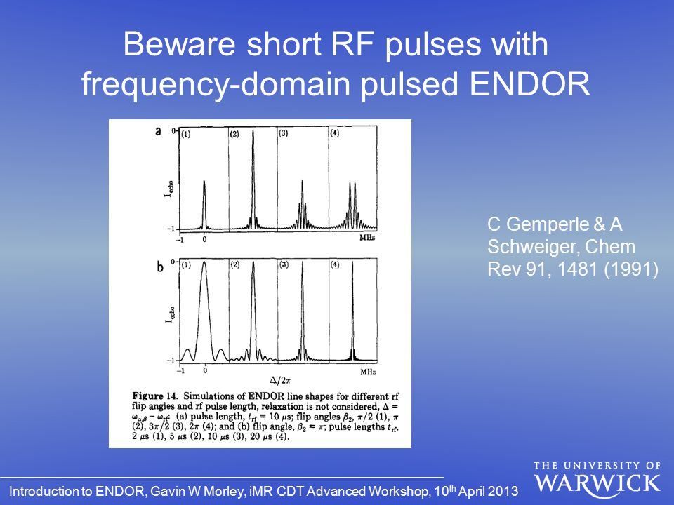 Beware short RF pulses with frequency-domain pulsed ENDOR