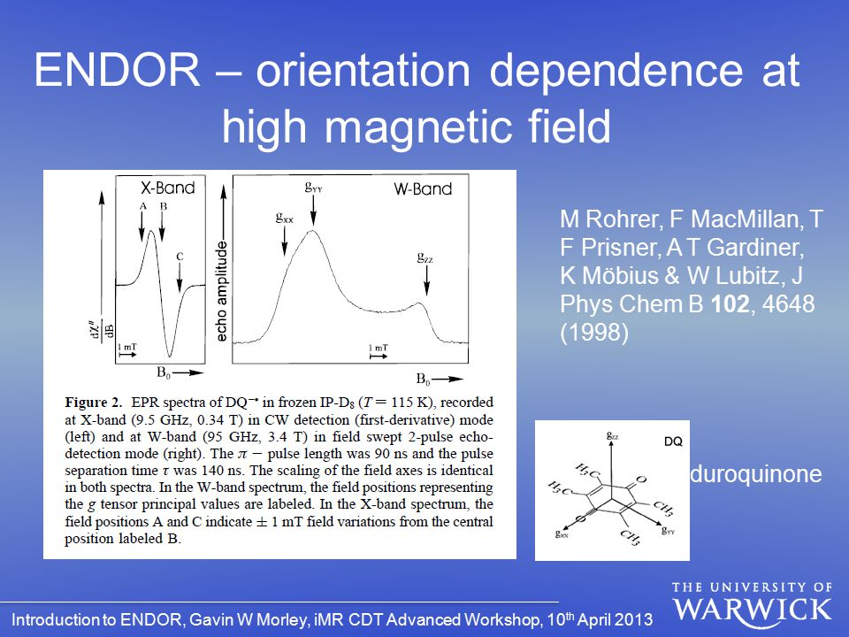 ENDOR – orientation dependence at high magnetic field