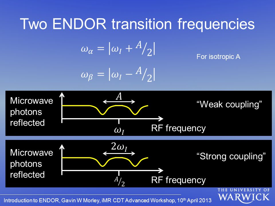 Two ENDOR transition frequencies