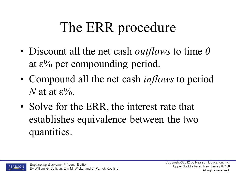 The ERR procedure Discount all the net cash outflows to time 0 at ε% per compounding period. Compound all the net cash inflows to period N at at ε%.
