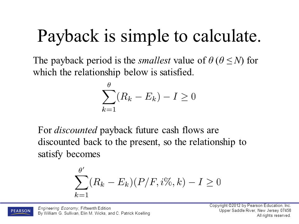 Payback is simple to calculate.