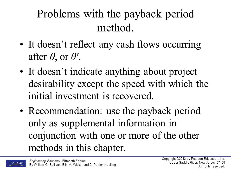 Problems with the payback period method.