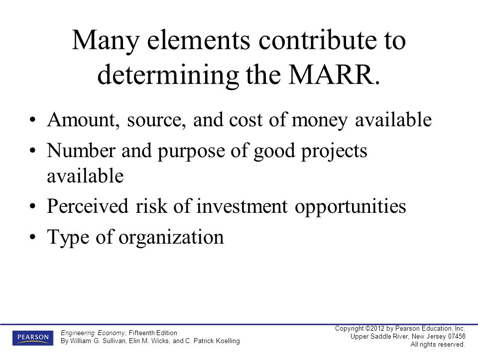 Many elements contribute to determining the MARR.