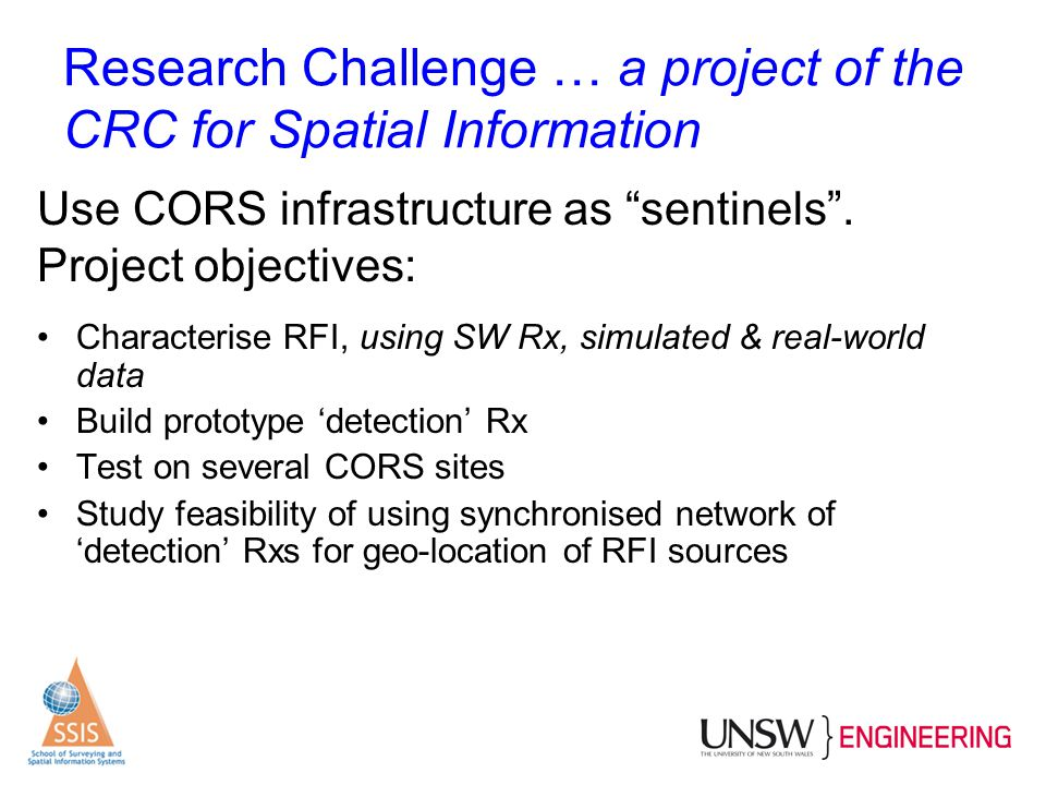 Research Challenge … a project of the CRC for Spatial Information