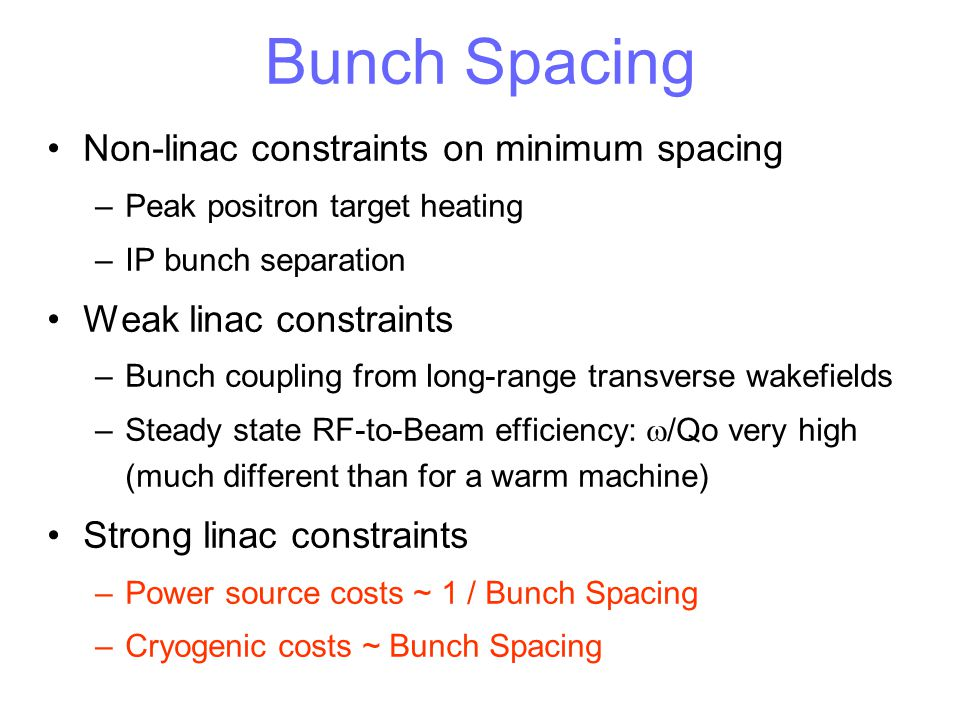 Bunch Spacing Non-linac constraints on minimum spacing