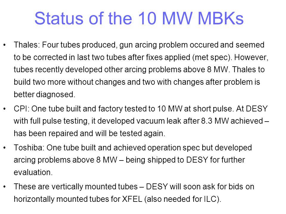 Status of the 10 MW MBKs