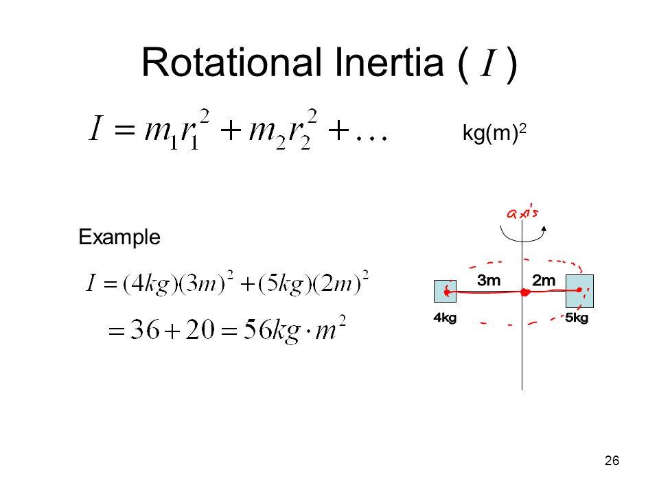 Rotational Inertia ( I )