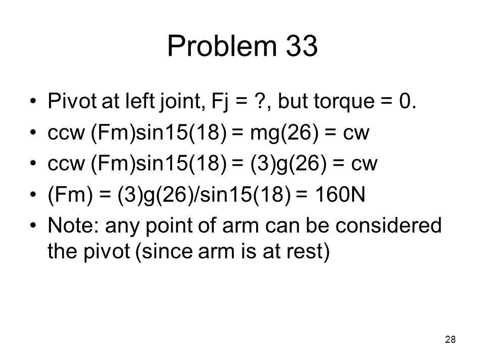 Problem 33 Pivot at left joint, Fj = , but torque = 0.