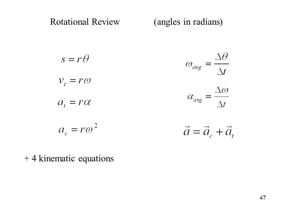 Rotational Review (angles in radians) + 4 kinematic equations