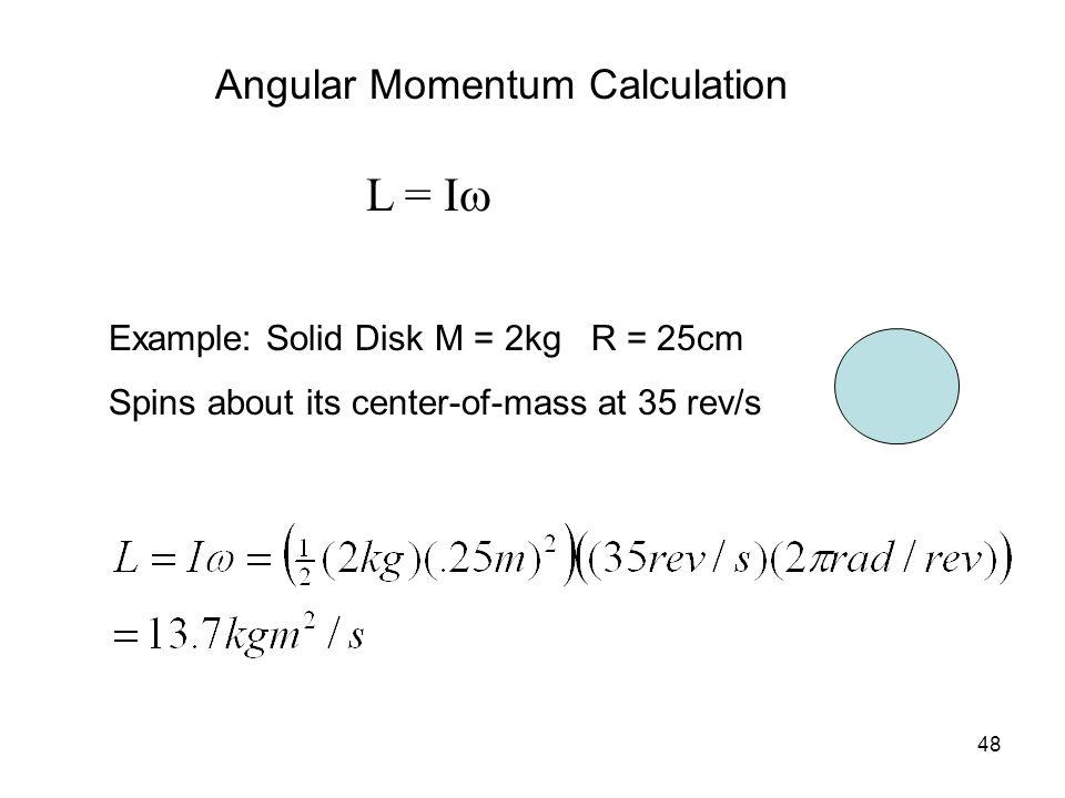 L = Iw Angular Momentum Calculation