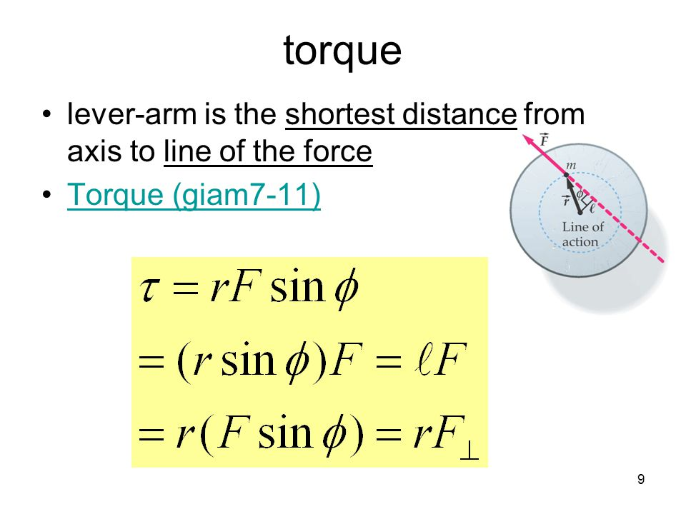 torque lever-arm is the shortest distance from axis to line of the force Torque (giam7-11) 9 9