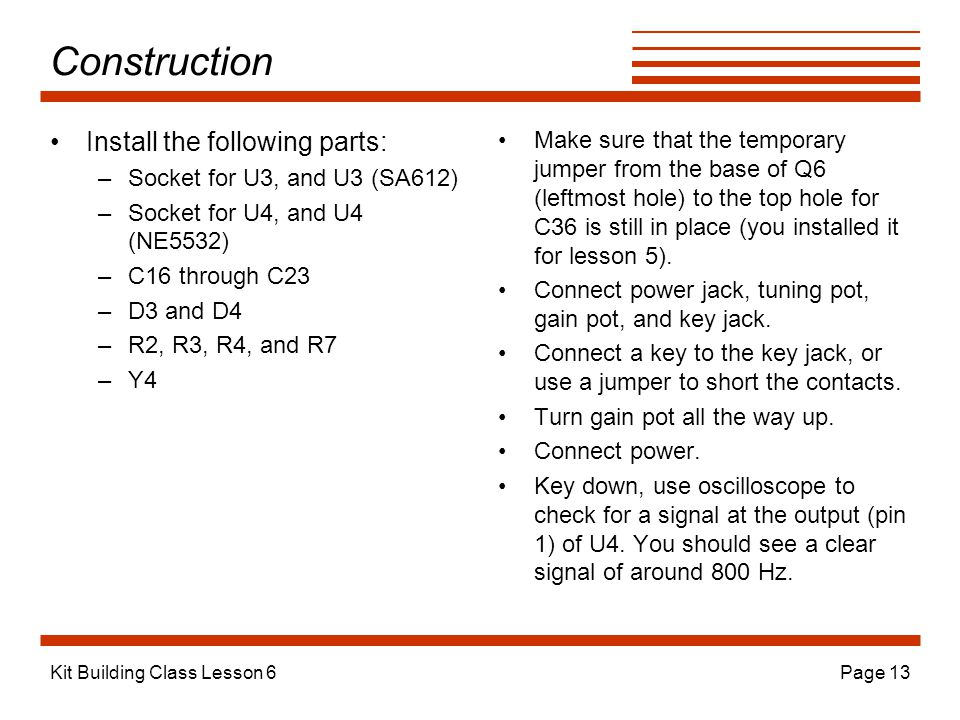 Construction Install the following parts: