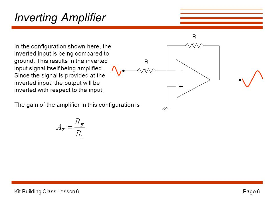 Inverting Amplifier - + In the configuration shown here, the