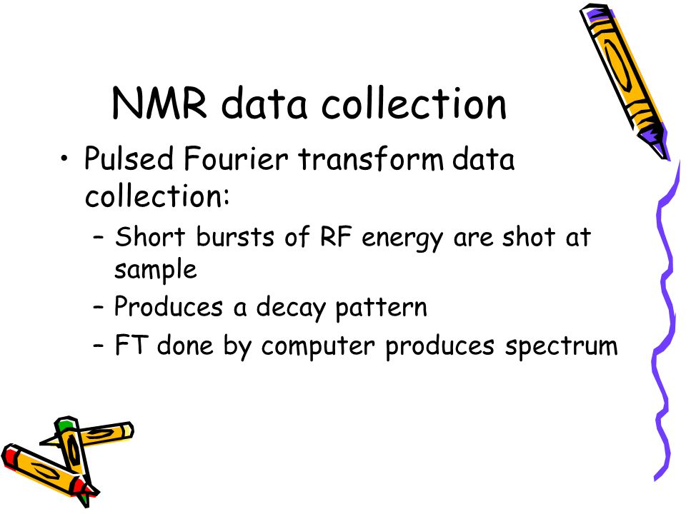 NMR data collection Pulsed Fourier transform data collection: