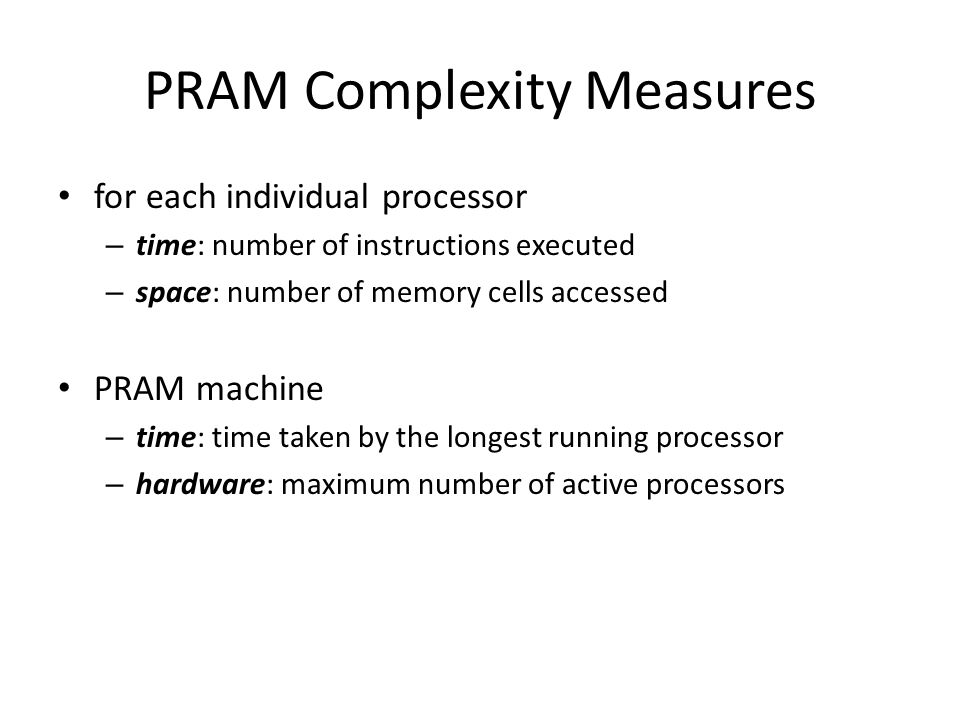 PRAM Complexity Measures