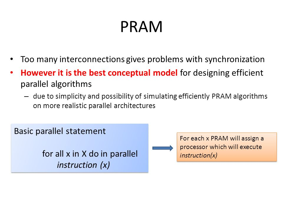 PRAM Too many interconnections gives problems with synchronization