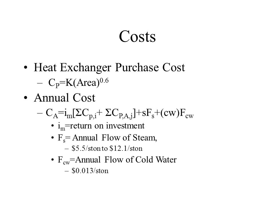 Costs Heat Exchanger Purchase Cost Annual Cost CP=K(Area)0.6