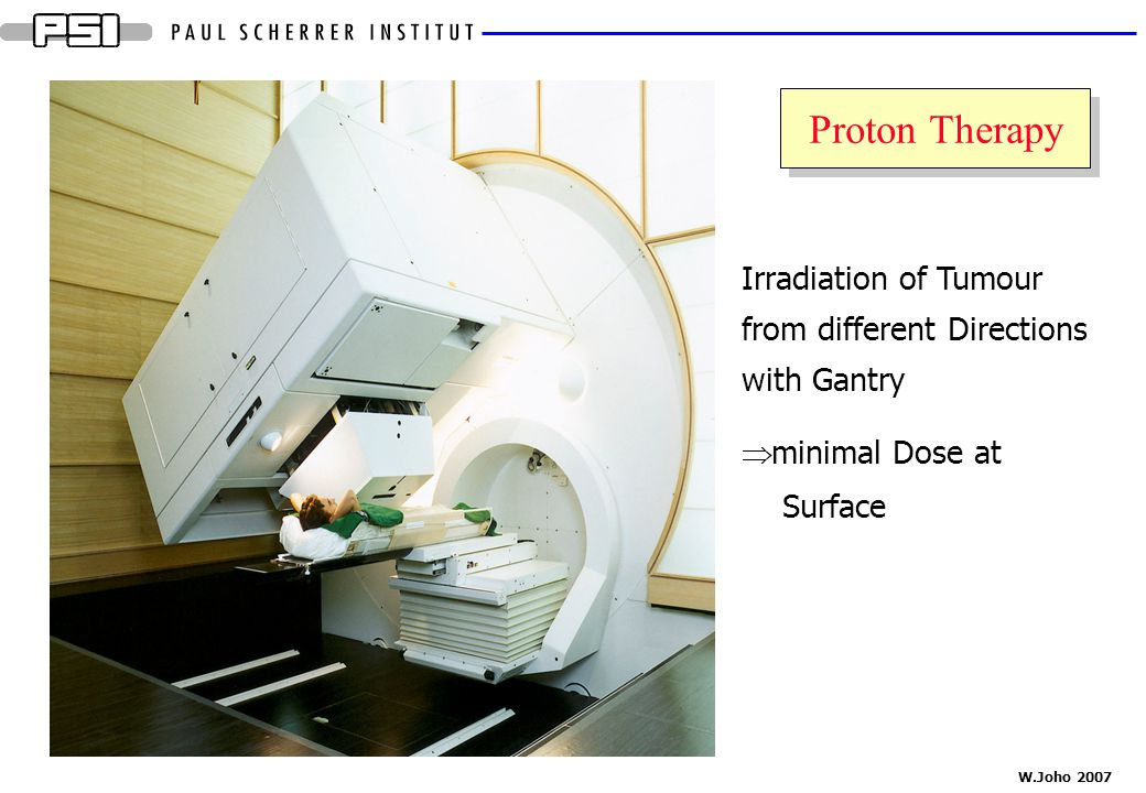 Proton Therapy Irradiation of Tumour from different Directions with Gantry. minimal Dose at Surface.